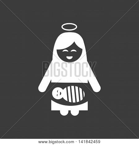 flat icon in black and white style Virgin Mary Jesus