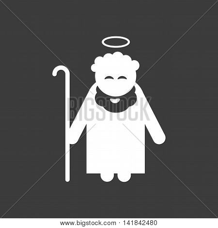 flat icon in black and white style father Jesus