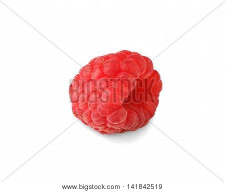 Studio shot of one fresh ripe raspberry closeup isolated on white background. Natural organic berry fruit, healthy food, diet concept