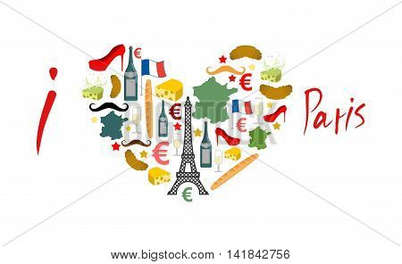I Love Paris. Traditional French National Set Of Icons In Form Of Heart. Eiffel Tower And Croissant.