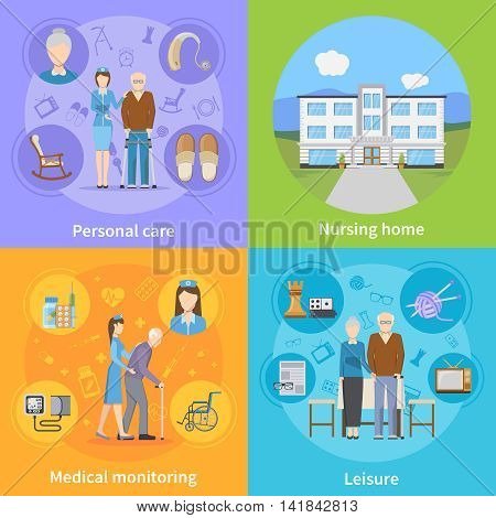 Nursing home 2x2 design concept with personal elderly care medical monitoring and pensioners leisure compositions flat vector illustration