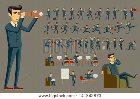 Cartoon Illustration Of A Handsome Young Businessman In Various Poses Vector