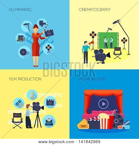 Filmmaking concept 4 flat icons square with movie director with loudspeaker and cameraman abstract isolated vector illustration