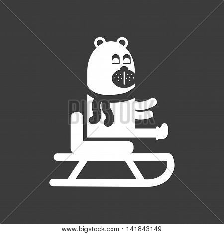 flat icon in black and white style Bear sledge