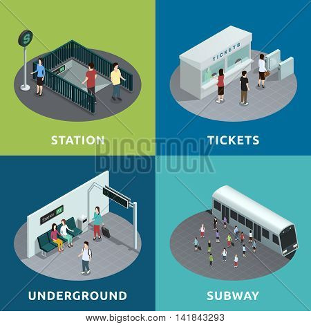 Color isometric design concept 2x2 depicting  roon of metro atation tickets underground subway vector illustration