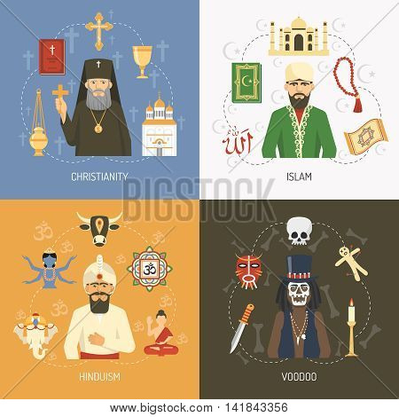 Christianity islam and hinduism religious concept and alternative voodoo ritual symbols 4 flat icons square isolated vector illustration