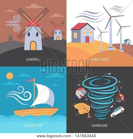 Color flat composition 2x2 depicting wind power windmill hurricane sailing ship vector illustration
