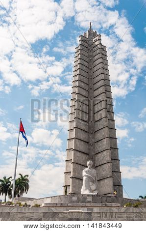 HAVANA, CUBA - MARCH 18, 2016: Jose Marti Monument one of the iconic political landmarks standing in the Revolution Square in Havana Cuba