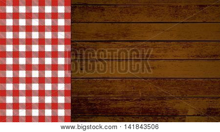 Rustic retro background with old brown wooden planks and red white tablecloth