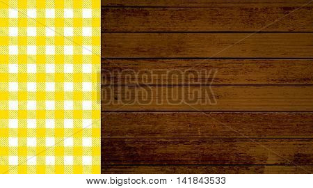 Rustic retro background with old brown wooden planks and yellow white tablecloth