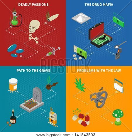 Drugs addiction concept icons set with deadly passions symbols isometric isolated vector illustration