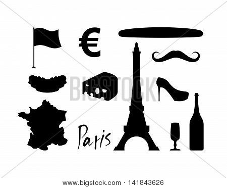 France Set Icons. Traditional Travel Symbol. Sights And Characteristics Of Country. Eiffel Tower And