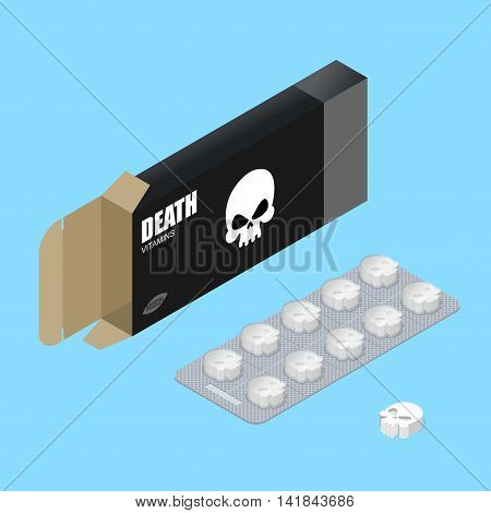 Death Pills In Pack. Deadly Vitamins In Box.  Medicament For Lethal Outcome In Form Of Skull. Scary