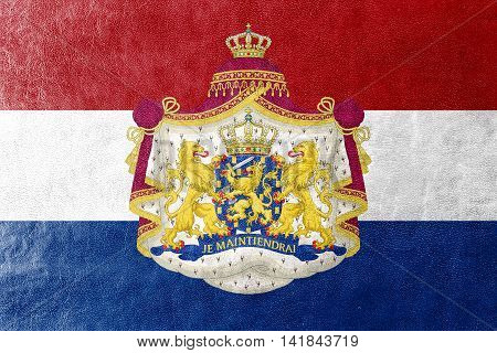 Flag Of Netherlands With Coat Of Arms, Painted On Leather Texture