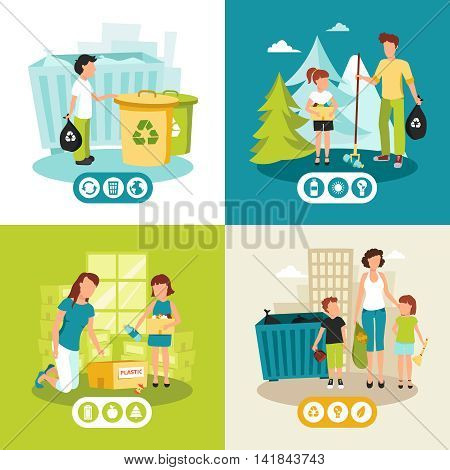 Batteries plastic and domestic waste collection for recycling concept 4 flat icons square abstract isolated vector illustration