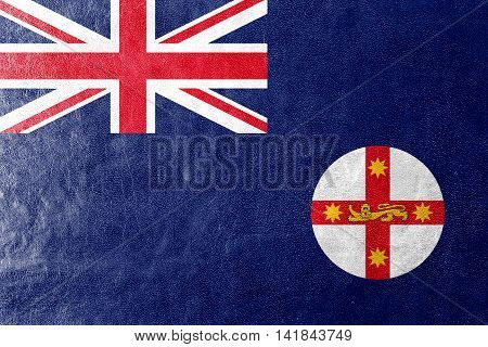 Flag Of New South Wales State, Australia, Painted On Leather Texture