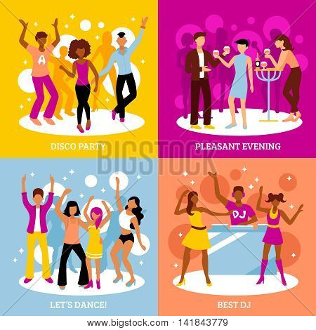 Disco party concept icons set with dancing and pleasant evening symbols flat isolated vector illustration