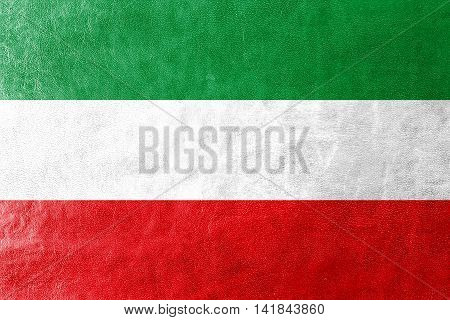 Flag Of North Rhine-westphalia, Germany, Painted On Leather Texture