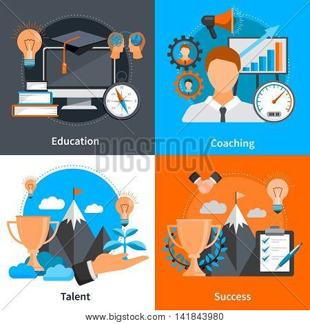 Flat design 2x2 concept icons for mentoring and coaching skills development set isolated vector illustration