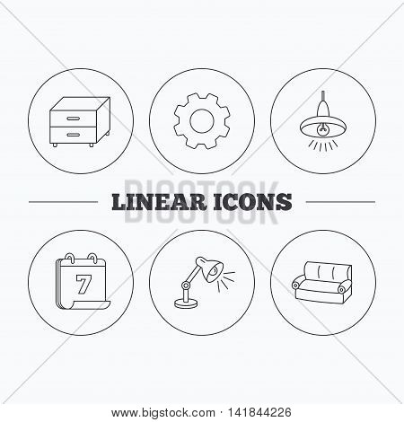 Sofa, table lamp and nightstand icons. Ceiling lamp linear sign. Flat cogwheel and calendar symbols. Linear icons in circle buttons. Vector