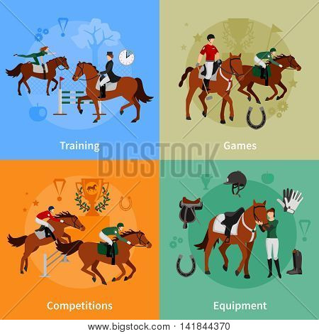 Horse rising sport 2x2 flat concept set of jockey equipment training games competitions design compositions vector illustration
