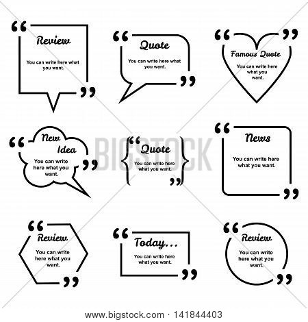Set of vector black different geometrical form quote templates isolated on white. Review, idea, news bubble. Empty template. Information, text.