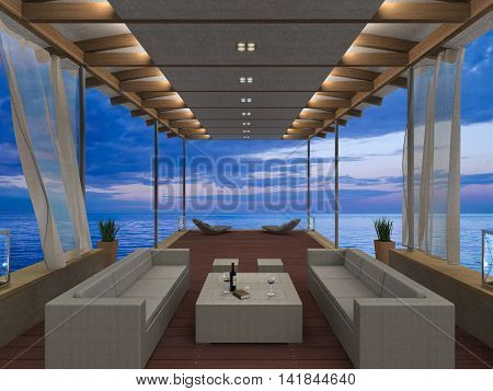 fictitious 3D rendering showing a seaside lounge overlooking the sea during sunset