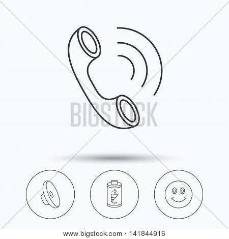 Phone call, battery and sound icons. Smiling face linear sign. Linear icons in circle buttons. Flat web symbols. Vector