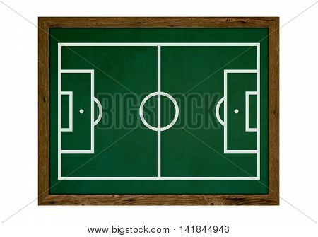 Isolated tactic board with wooden frame and football field