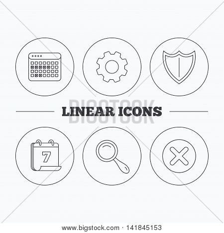 Calendar, magnifying glass and delete icons. Shield linear sign. Flat cogwheel and calendar symbols. Linear icons in circle buttons. Vector