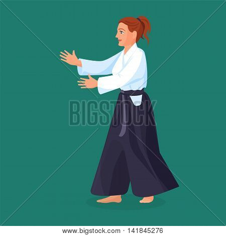 Woman is practicing his defending skills in uniform, colorful vector flat illustration