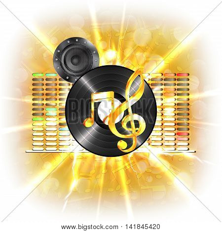 Musical background flash treble clef with loudspeaker in the background clarified equalizer. Made without borders with whitened can be used with any text or image on a white background.