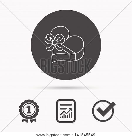 Love gift box icon. Heart with bow sign. Report document, winner award and tick. Round circle button with icon. Vector