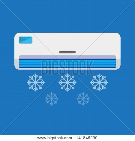 Air conditioner unit is cooling the air. Colorful vector flat illustration.