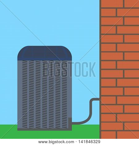 Air conditioner unit concept. Colorful vector flat illustration.