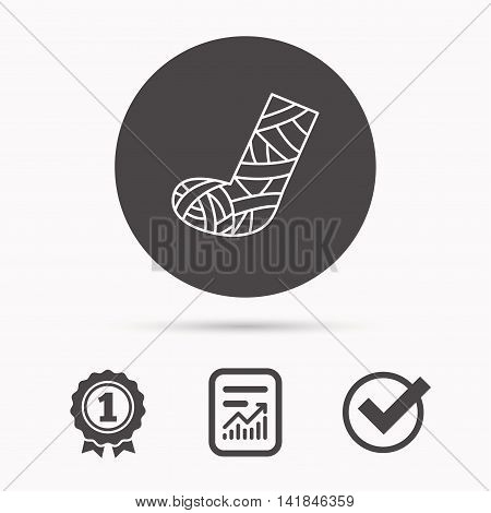 Gypsum or cast foot icon. Broken leg sign. Human recovery medicine symbol. Report document, winner award and tick. Round circle button with icon. Vector