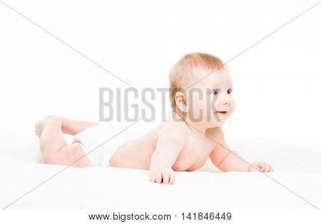 Portrait of a cute smiling infant baby crawling in a diaper isolated on white