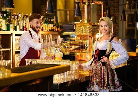Working people in a bar