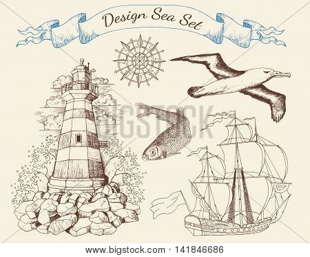 Design sea set with light house, sailing ship, fish, flying gull and rose of winds, vintage collection with hand drawn elements