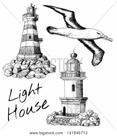 Vintage design collection with old light houses and flying gull, set with hand drawn elements