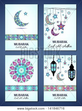 Set of vector greeting cards to Feast of the Sacrifice (Eid-Al-Adha). Congratulation's backgrounds with text muslim symbols and mosaic mandalas patterns. A4 format