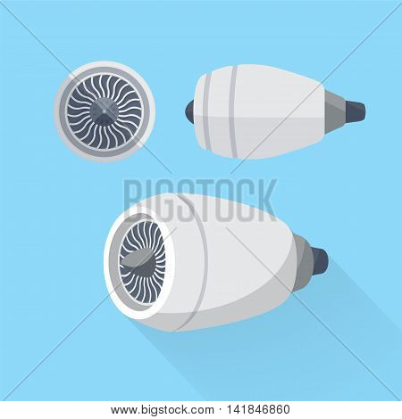 Aircraft engine unit turbine set. Colorful flat vector illustration.