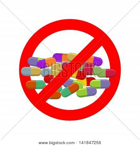 Stop Doping. Ban Dope. It Is Forbidden To Take Stimulants. Crossed-out Sports Nutrition And Pills. E