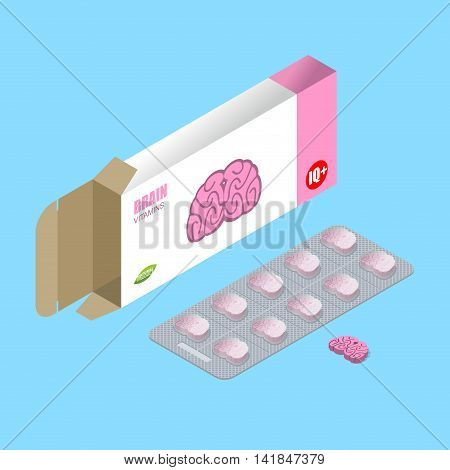 Brains Pills In Pack. Iq Vitamins. Tablets In Box. Natural Medicines For Mind In Form Of Brain. Smar