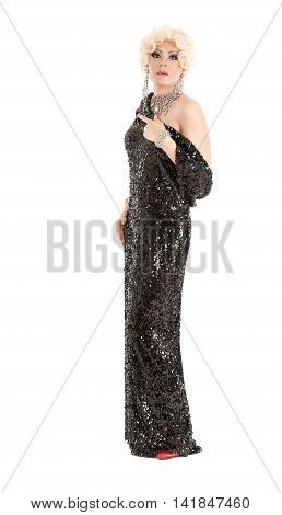 Portrait Drag Queen in Black Evening Dress Performing on white background