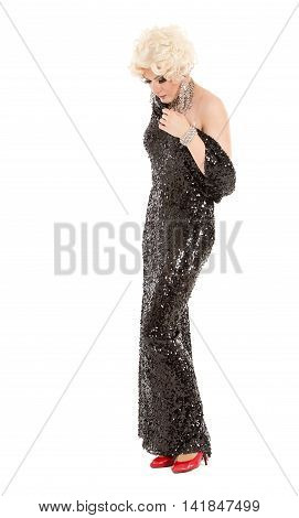 Portrait Drag Queen In Black Evening Dress Performing