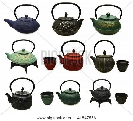 Design set with various metal japanese tea pots and cups, retro kitchen objects isolated on white