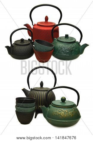 Design set with group of various japanese tea pots and cups, isolated objects
