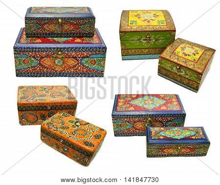 Collection of Indian ornamental boxes, isolated objects, ethnic collection