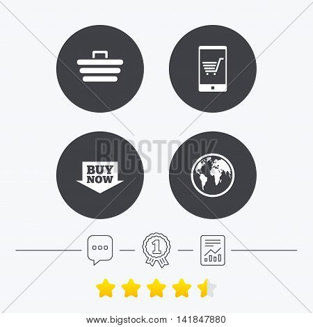 Online shopping icons. Smartphone, shopping cart, buy now arrow and internet signs. WWW globe symbol. Chat, award medal and report linear icons. Star vote ranking. Vector